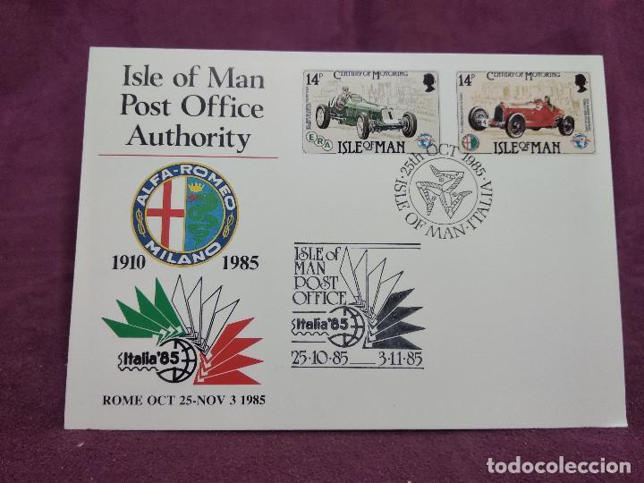 ISLA DE MAN, 1985, ENTERO POSTAL CONMEMORATIVO DE LA EXPO MUNDIAL DE FILATELIA, ITALIA 85 (Sellos - Extranjero - Entero postales)