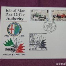 Sellos: ISLA DE MAN, 1985, ENTERO POSTAL CONMEMORATIVO DE LA EXPO MUNDIAL DE FILATELIA, ITALIA 85. Lote 287709363