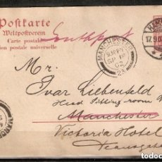 Sellos: ALEMANIA IMPERIO. ENTERO POSTAL. 1902.HAMBURGO-MANCHESTER. Lote 289397098