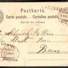 Sellos: SUIZA.1905. ENTERO POSTAL. AMBULANT. MARCA TELEPHON. MATASELLOS LINEAL LAGNAU. Lote 289399188
