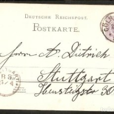 Sellos: ALEMANIA IMPERIO. 1888. POSTKARTE. CÖLN. Lote 294812098
