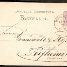Sellos: ALEMANIA IMPERIO. 1879. POSTKARTE. WEINHEIM. Lote 294813213