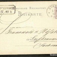 Sellos: ALEMANIA IMPERIO. 1880. POSTKARTE. STADE. Lote 294814523
