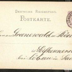 Sellos: ALEMANIA IMPERIO. 1879. POSTKARTE. LÜBBEN. Lote 294815223