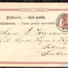 Sellos: ALEMANIA IMPERIO. 1889. FRANKFURT A PALERMO ( SICILIA ). Lote 296579038