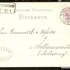 Sellos: ALEMANIA IMPERIO. ENTERO POSTAL. 1881 STOLZENAU. MARCA DE LA EMPRESA.. Lote 296579418