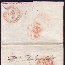 Sellos: ESPAÑA. (CAT. PE. 29-I/PE. 14-I).1842. CARTA. BAEZAS DE CÁDIZ Y TARRAGONA DE TRÁNSITO. MAGNÍFICA.. Lote 27118048