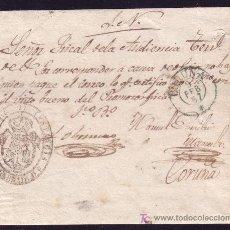 Sellos: ESPAÑA.1857.CARTA DE CARBALLO A LA CORUÑA. MNS. *...NO HAY QUIEN PAGUE EL CORREO*. MARCA FRANQUICIA.. Lote 26720445