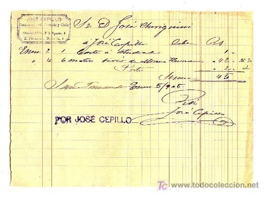 COSARIO. 1905. DOCUENTO CON MARCA DE JOSE CEPILLO. FIRMA DE RECIBI DEL COSARIO Y SELLO DE TAMPON. (Filatelia - Sellos - Prefilatelia)