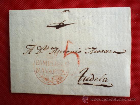 CARTA PREFILATELIA - PAMPLONA 1826 TUDELA , NAVARRA (Filatelia - Sellos - Prefilatelia)
