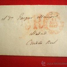 Sellos: CARTA CIRCULADA , ENTRE CACERES ----- CIUDAD REAL - MADRID 1847. Lote 26079226