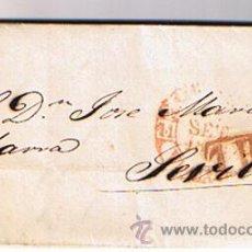 Sellos: CARTA DE SAN SEBASTIÁN A SEVILLA. DE 21 SET.1850.CON FECHADOR BAEZA 27 R.. Lote 22004858