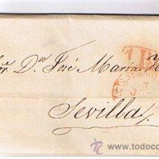 Sellos: CARTA DE SAN SEBASTIÁN A SEVILLA. DE 5 JUL.1850.CON FECHADOR BAEZA 27 R.. Lote 22005536