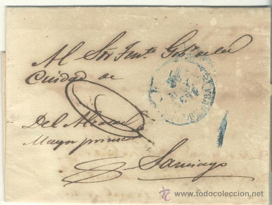 1851 CUBA ISABEL II PLICA DE LA HABANA A SANTIAGO RRR (18) (Filatelia - Sellos - Prefilatelia)