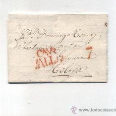 Sellos: CARTA DE VALLADOLID A TOLOSA.DE 28 ENERO 1833. CON MARCA 17 R. Y MARCA DE PORTEO 7 ROJO.. Lote 133526961