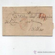 Sellos: CARTA DE TOLOSA A BILBAO.DE 22 AGOS-1847. CON BAEZA 10 R. Y MARCA DE PORTEO 1R.. Lote 133527039