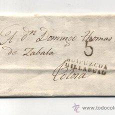 Sellos: CARTA DE LASAO A TOLOSA.DE 16-NOV-1828. CON MARCA DE VILLAREAL 8 N. Y MARCA DE PORTEO 5 N.. Lote 133527094