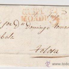 Sellos: CARTA DE DEVA A TOLOSA DE 24 DE JULIO 1830. CON MARCA DE MONDRAGÓN 6 R.. Lote 133527115