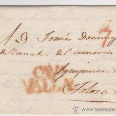 Sellos: CARTA DE VALLADOLID A TOLOSA DE 12 MARZO 1830.CON MARCA 17 R. Y DE PORTEO 7 ROJO.. Lote 133527147