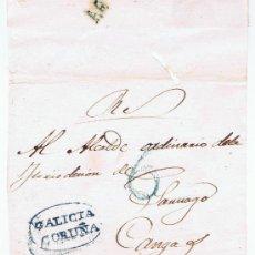 Sellos: ENVUELTA CIRCULADA DE A CORUÑA AL ALCALDE ORDINARIO DE CAMBADOS CON MARCAS GALICIA AZULES. Lote 29848454