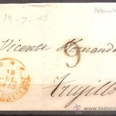 Sellos: PREFILATELIA,ENVUELTA VALENCIA A TRUJILLO 1845.. Lote 30265659