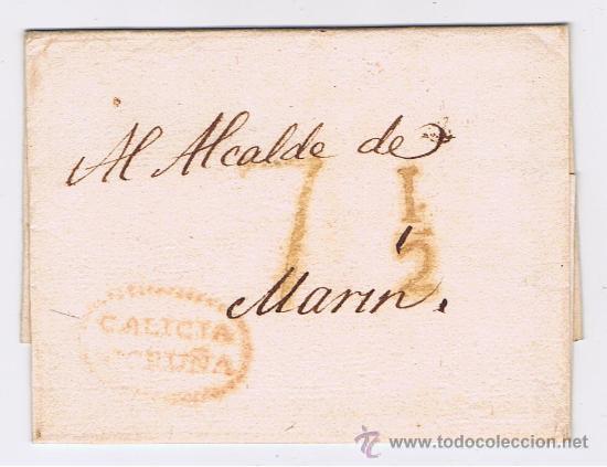 ENVUELTA CIRCULADA 1824 DE CORUÑA AL ALCALDE DE MARIN CON MARCAS DE GALICIA (Filatelia - Sellos - Prefilatelia)