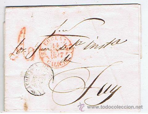 ENVUELTA CIRCULADA I ESCRITA DESDE CORUNYA A TUY 1847 COM MARCAS DE GALICIA (Filatelia - Sellos - Prefilatelia)