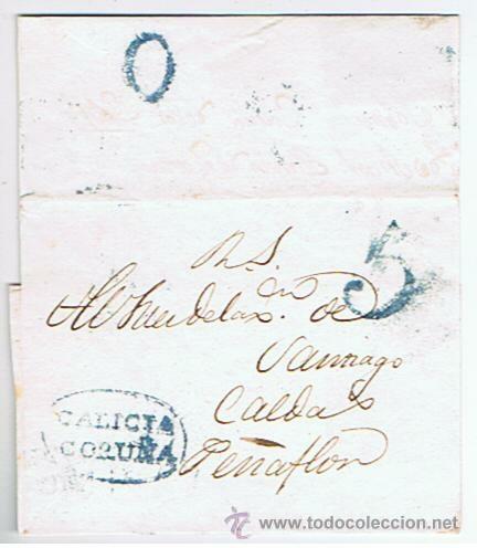 ENVUELTA CIRCULADA DESDE CORUNYA A CALDAS PENYAFLOR SANTIAGO 1833 COM MARCAS DE GALICIA (Filatelia - Sellos - Prefilatelia)