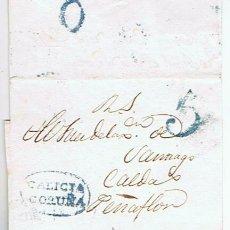 Sellos: ENVUELTA CIRCULADA DESDE CORUNYA A CALDAS PENYAFLOR SANTIAGO 1833 COM MARCAS DE GALICIA. Lote 32141722