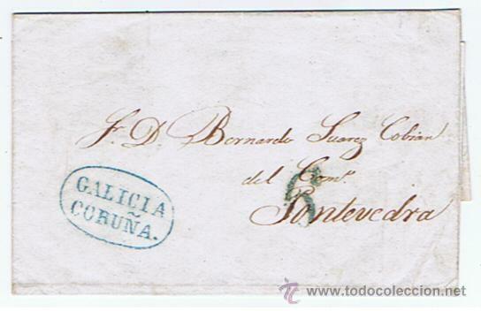 ENVUELTA CIRCULADA DESDE CORUNYA A PONTEVEDRA 1842 COM MARCAS DE GALICIA (Filatelia - Sellos - Prefilatelia)