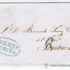 Sellos: ENVUELTA CIRCULADA DESDE CORUNYA A PONTEVEDRA 1842 COM MARCAS DE GALICIA. Lote 32141739