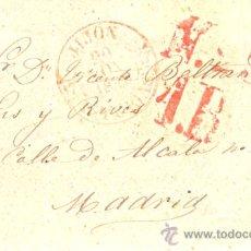 Sellos: CARTA PREFILATELIA - GIJON - MADRID. 1849.. Lote 33073265