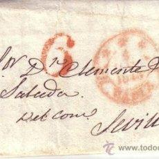 Sellos: CARTA PREFILATELICA CIRCULADA DE CADIZ A SEVILLA CON FECHADOR DE CADIZ Y MARCA PREFILATELICA 6. Lote 34649248