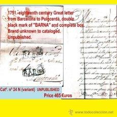 Sellos: 1751.SOBREESCRITO DEL S. XVIII DE BARCELONA A PUIGCERDA CON DOBLE MARCA. CTA. INEDITA Y DESCONOCIDA.. Lote 35567357