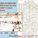 Sellos: 1726.SOBREESCRITO DEL S. XVIII DE SAVALUYA A BARNA CON MARCA LINEAL Y ENCAMINADA POR LLORENS TEXIDOR. Lote 35567662