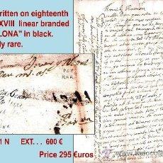 Sellos: 1726.SOBREESCRITO DEL S. XVIII DE CATALUYA A BARNA CON MARCA LINEAL Y ENCAMINADA POR LLORENS TEXIDOR. Lote 35567662