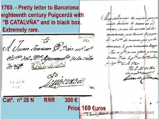 1760.-SOBREESCRITO SIGLO XVIII DE BARCELONA A PUIGCERDÁ. MARCA COMPLETA. CAT. 28 N RARISIMA. (Filatelia - Sellos - Prefilatelia)