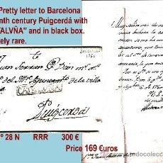 Sellos: 1760.-SOBREESCRITO SIGLO XVIII DE BARCELONA A PUIGCERDÁ. MARCA COMPLETA. CAT. 28 N RARISIMA.. Lote 35570237
