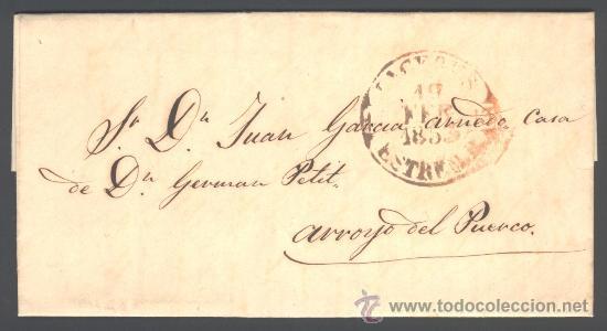 *** PREFILATELIA, 1850 BONITA CARTA DE CACERES 9R-II A ARROYO DEL PUERCO T-II N/C *** (Filatelia - Sellos - Prefilatelia)