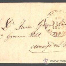 Sellos: *** PREFILATELIA, 1850 BONITA CARTA DE CACERES 9R-II A ARROYO DEL PUERCO T-II N/C ***. Lote 37141896