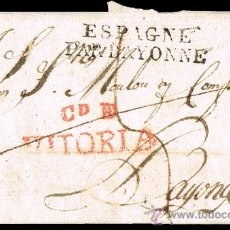 Sellos: ALAVA PREF. - VITORIA PE16R - CARTA CIRC. DE VITORIA A BAYONA 1817 - PORTEO 8. Lote 37777640