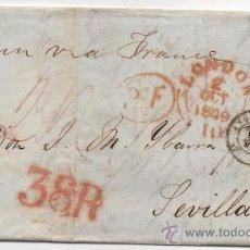 Sellos: CARTA LONDRES A SEVILLA, 2 OCT.1949,IMPRESIONANTE PORTEO,38R, RARA. Lote 37781468