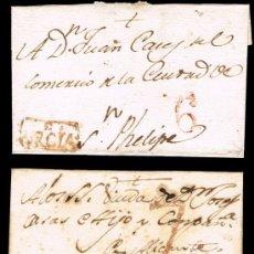 Selos: ALBACETE PREF. - HELLIN PE1R - DOS CARTAS CIRC. A JATIVA - PORTEO 6 Y 7. Lote 37878247