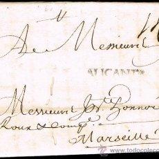 Sellos: ALICANTE PREF. - ALICANTE P.E. 5 - CARTA CIRC. DE ALICANTE A MARSELLA 1739. Lote 38367549