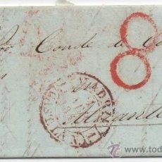 Sellos: CARTA COMPLETA PREFILATELICA, AÑO 1843 DE MADRID A ALICANTE, BAEZA MARRON. Lote 38523094