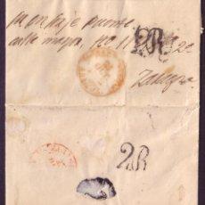 Sellos: ESPAÑA. 1852. CARTA DE BARBASTRO (HUESCA) A ZARAGOZA. TASA RECTIFICADA. BONITA Y MUY RARA.. Lote 24424269