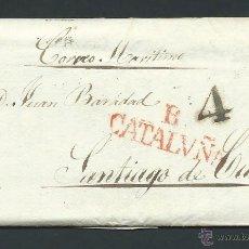 Sellos: CARTA PREFILATEIA AÑO 1831 BARCELONA A CUBA POR CORREO MARITIMO SELLO CATALUÑA CRISTOFOL ROIG VIDAL. Lote 29372184