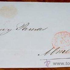 Sellos: SOBRE CIRCULADO - ESPAÑA. CORREOS 1854 FRANCO 6 CS. , MAT. BARCELONA 1854 - MUY RARO CON FECHADOR. . Lote 38237977