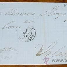 Sellos: SOBRE CIRCULADO - ESPAÑA. CORREOS 1862 - 4 CUARTOS COMUNICACIONES - MATASELLOS FECHADOR 1862 VINAROZ. Lote 38238063