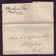 Sellos: REINO UNIDO.1833.CARTA DE LIVERPOOL A HALIFAX (CANADÁ). MNS. *PR. HALUS* DEL BARCO.FUERA VALIJA.RR.. Lote 26767662